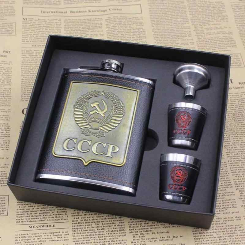 8oz Stainless Steel Alcohol Hip Flasks Whiskey Wine Bottle Funnel Cups Bottle Kits Cccp Engraving Alcohol Container with Box