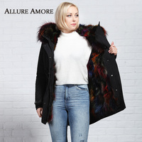Зимние настоящая меховая парка; Новинка; Верхняя одежда с капюшоном теплая куртка реальные женское меховое пальто из натурального меха ено