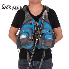 Dongzhur Fishing Life Vest Men Outdoor Sport Breathable Swimming Life Jacket Safety Waistcoat Survival Utility Vest Colete New