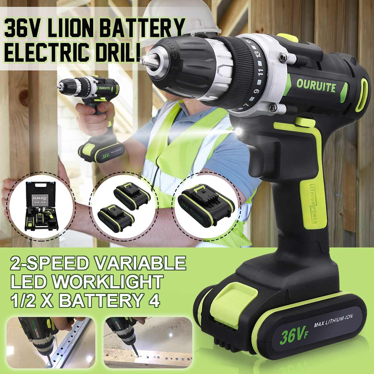 36V Professional Cordless Rechargeable Wireless Electric Screwdriver Cordless Drill Hammer Drill36V Professional Cordless Rechargeable Wireless Electric Screwdriver Cordless Drill Hammer Drill
