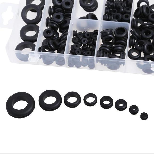 180Pcs/lot Black Rubber Grommets 8 Popular Sizes Retaining Ring Set Blanking Hole Wiring Cable Gasket Kits Hardware Tools