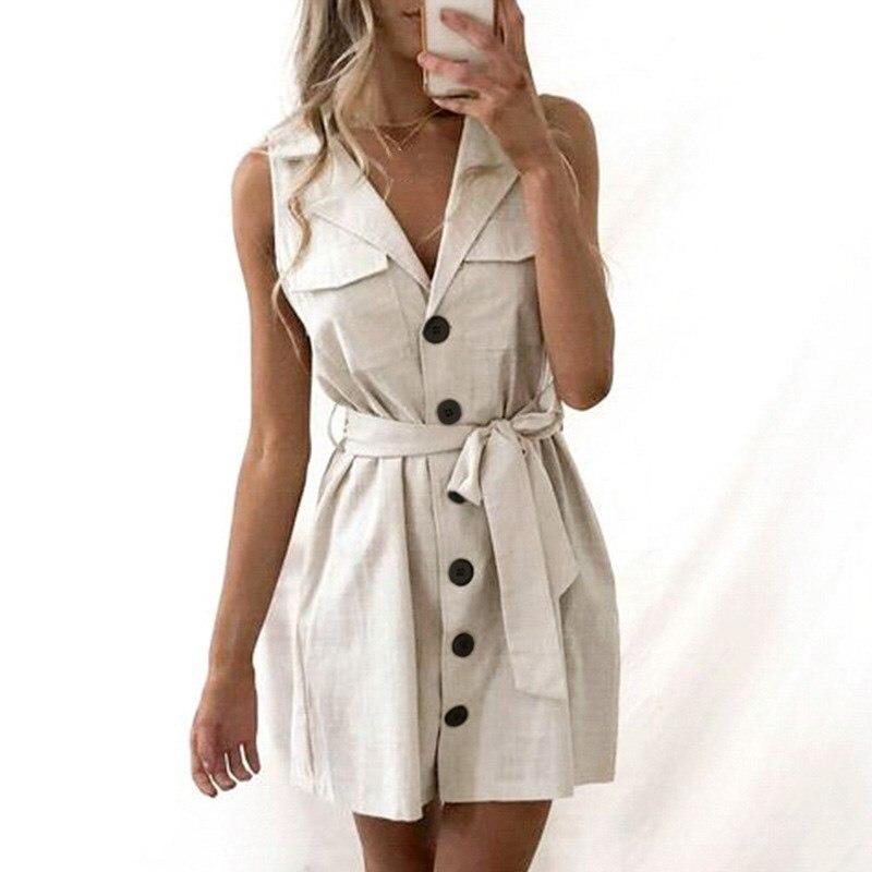 Elegant Short Blazer Women Dress Sexy Bow Belt Tie Solid Mini Dress Summer Linen Button Beach Wrap Shirt Dresses Vestidos