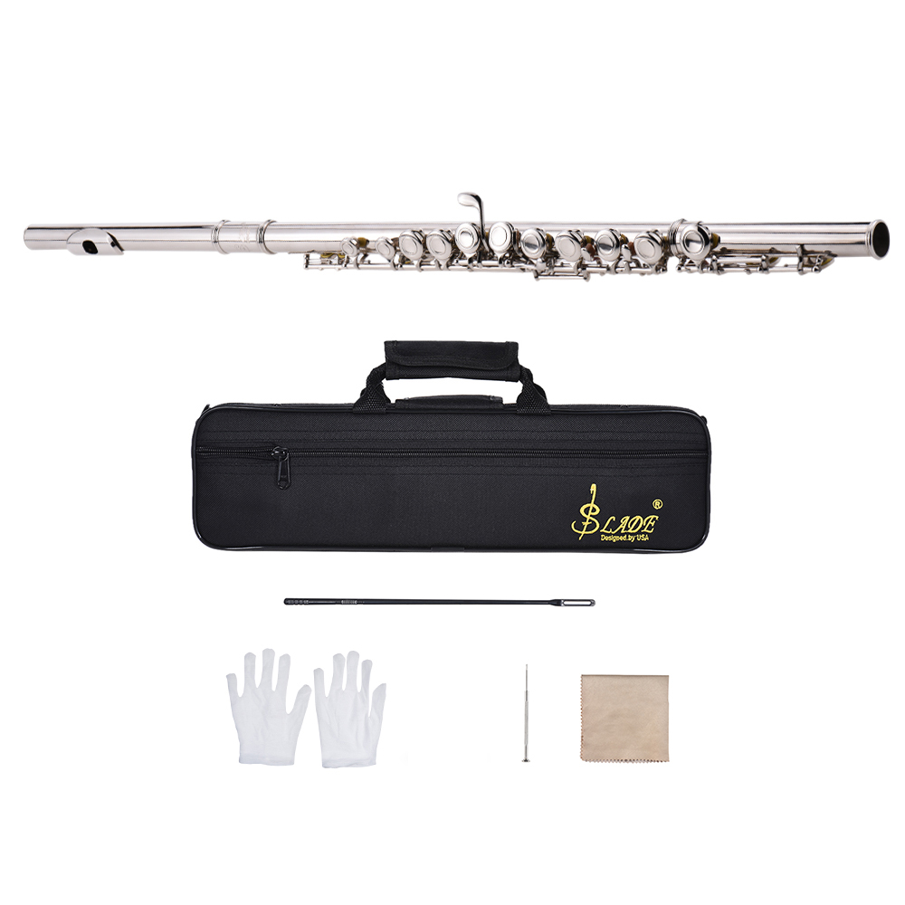 Western Concert Flute Silver Plated 16 Holes C Key Cupronickel with Cleaning Cloth Stick Gloves Mini