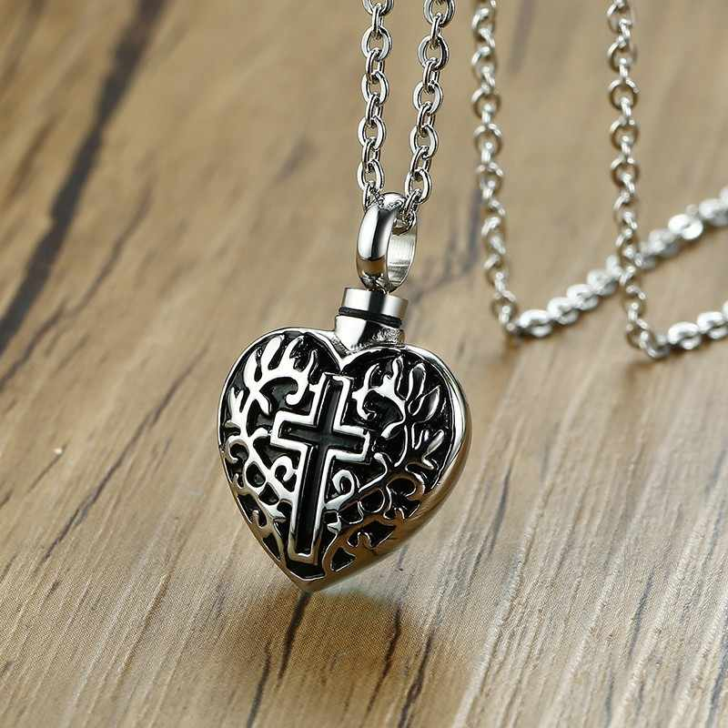 Cremation Urn Pendant Ancient Silver Men Necklace Ashes Locket Cremains Heart Memory Stainless Steel Cross Engraved Jewelry
