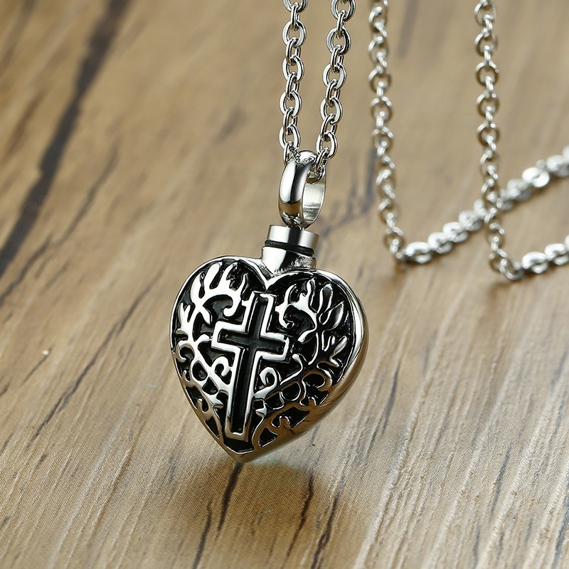 Cremation Urn Pendant Ancient Silver Men Necklace Ashes Locket Cremains Heart Memory Stainless Steel Cross Engraved JewelryCremation Urn Pendant Ancient Silver Men Necklace Ashes Locket Cremains Heart Memory Stainless Steel Cross Engraved Jewelry