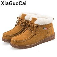 Winter Women's Shoes Leather Flat Bottom Short Ankle Boots With Fur Warm High Top Female Casual Shoes Moccasins Ladies Fashion