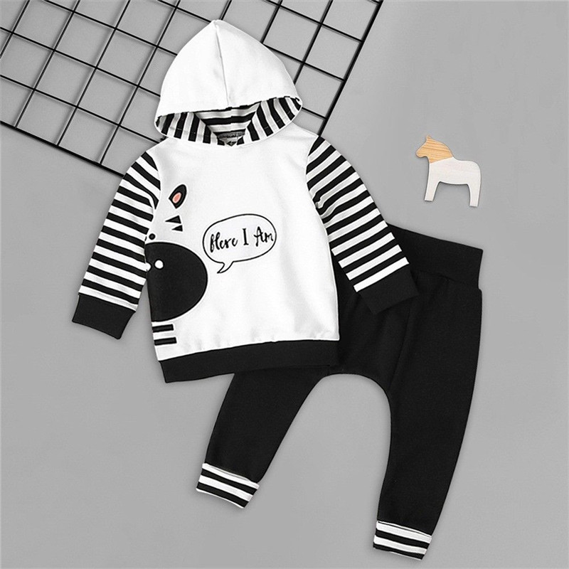 2pcs Newborn Toddler Baby Girl Boy Stripe Hooded Sweatshirt Coat Tops+Long Pants Leggings Outfits Set Clothes 0-24M