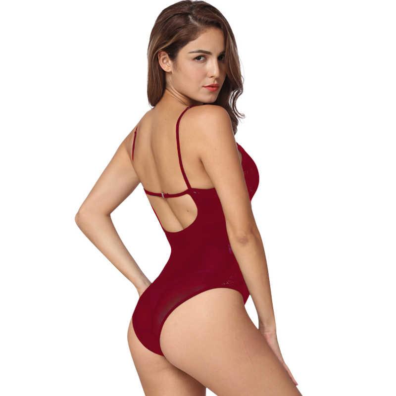636226bc4395b ... Sexy Women Erotic bodysuit Bodycon Jumpsuit Sheer Lace Mesh Bra Thongs  Erotic Backless Sleepwear Rompers Black ...