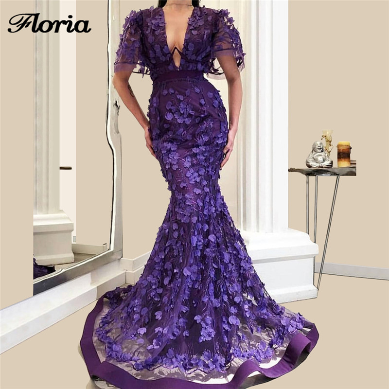 Aibye Purple 3D Flower   Evening     Dresses   2019 Robe de siree Turkish Gala Arabic Dubai Couture Long Prom Pageant   Dress   Abendkleider
