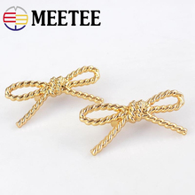 hot deal buy 4pcs meetee 6*2.5cm metal hardware clip buckle bow-knot shoes bag jewelry decoration buttons handbag parts accessories