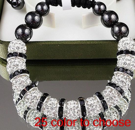 Vert Cristal Strass Perle Rond d/'argile pour bracelets shamballa 10mm 5pcs Noir