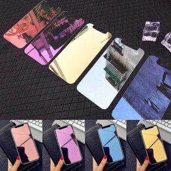 Kolorowe lustro szkło hartowane pokrywa dla iPhone 11 Pro X XS Max XR 6 6S 7 8 Plus 9H hartowane folia ochronna dla 7 8 Plus tanie i dobre opinie NCSW Pokrowiec Apple iphone ów Przezroczysty Wodoodporna Odporna na brud