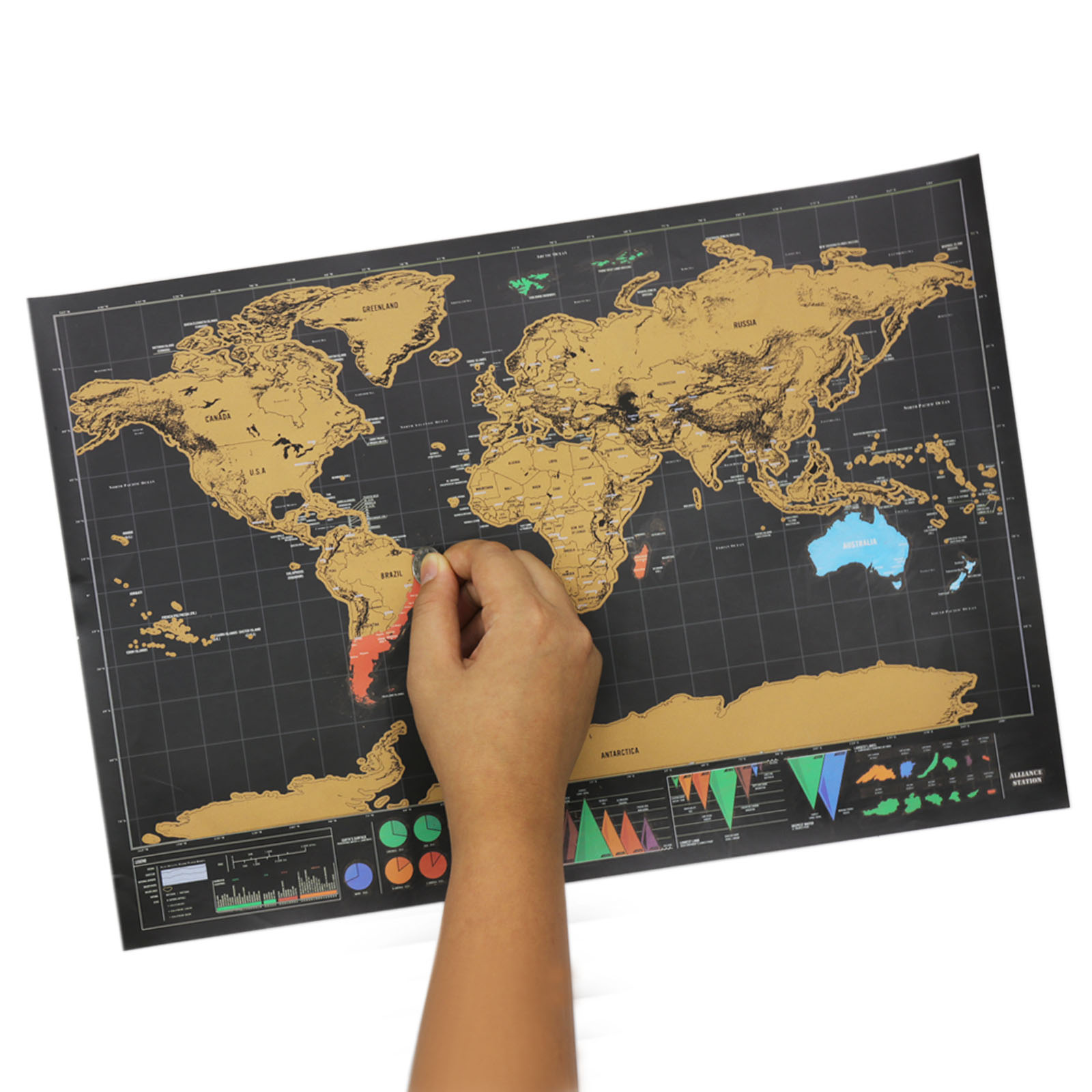 1 PCS Scratch Map New Design Black Deluxe Maps Travelwr Scratch Off World Best Gift for Education School Office Supplies image