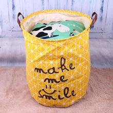 hot deal buy portable waterproof folding laundry basket canvas clothes storage baskets sundries storage barrel kids toys holder organizer