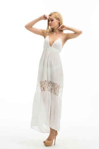 2019 Sıcak Seksi YENI Beyaz Kadın Dantel V Boyun Kokteyl Plaj Elbise Backless Kıyafeti Elbise