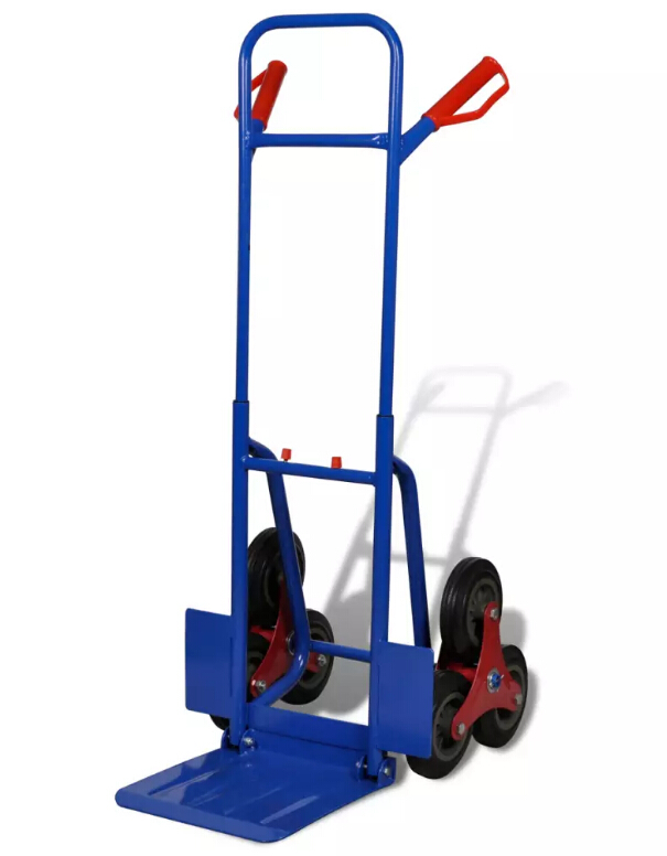 Chariot à bagages industriel de chariot à bagages de main de camion de sac bleu-rouge léger résistant de 6 roues chariot de supermarché