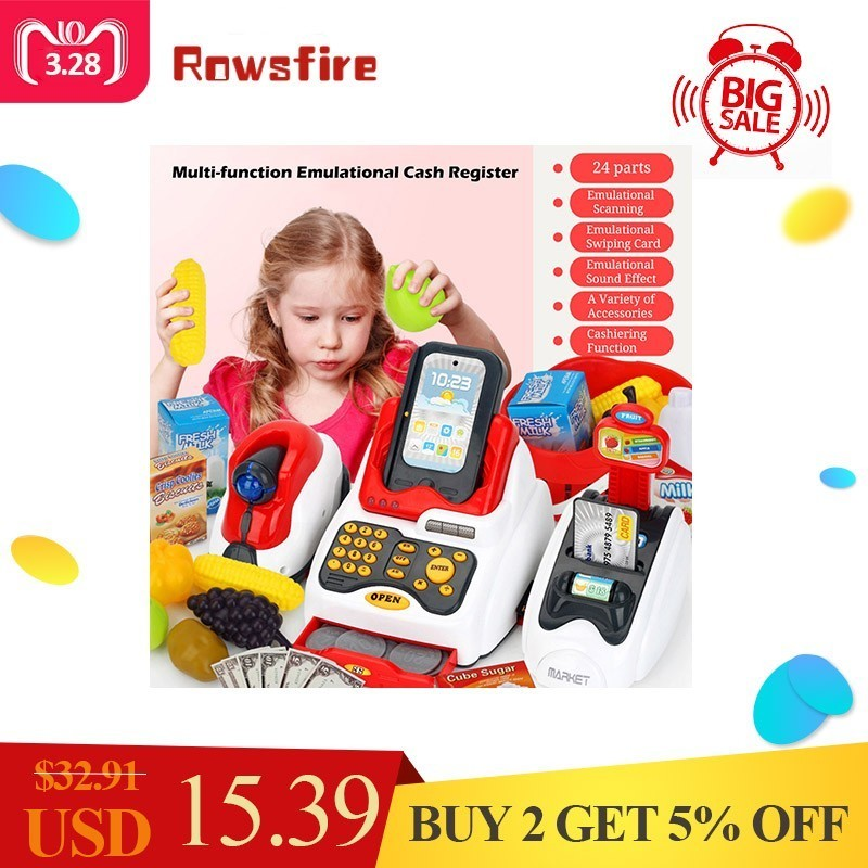 Rowsfire Lovely Children Pretend Play Toys Classic Supermarket Cash Register Toy for Children Cute Pattern Design Pakistan