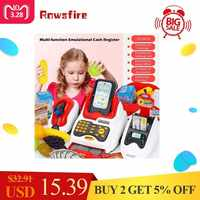 Rowsfire Lovely Children Pretend Play Toys Classic Supermarket Cash Register Toy for Children Cute Pattern Design