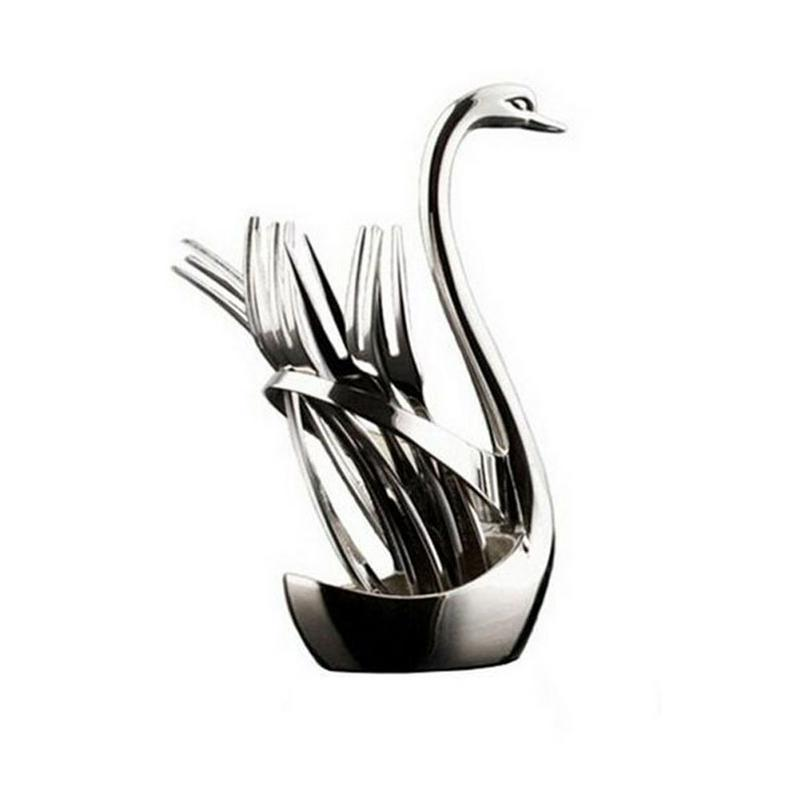 Creative Zinc Alloy Swan Base Spoon Set 3 Spoons 3 Forks 7 Pieces Set With Kitchen Tools Western Table Storage Ornaments