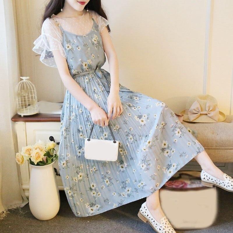 2 Piece Set Summer Women Chiffon Dress Mesh Spaghetti Strap Floral Print Dress Female Elegant Pleated Long Maxi Dress