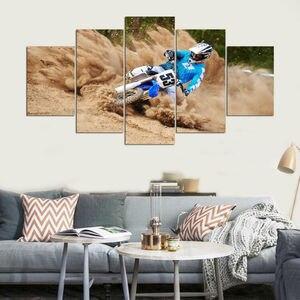 Quadros da arte da parede da lona sala de estar ou decoração do quarto quadro 5 pieces motocicleta corrida hd impressões tipo modular cartaz