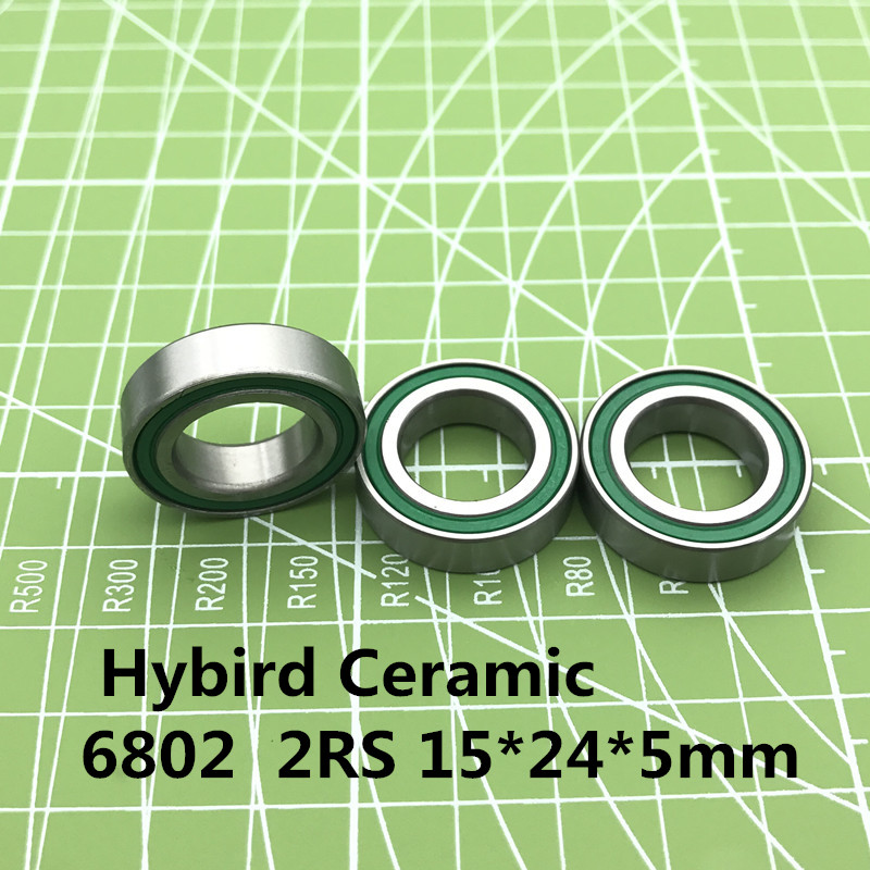 Free shipping 6802 Hybrid Ceramic <font><b>Bearing</b></font> 15x24x5 mm ABEC-3 ( 1 PC ) Bicycle Bottom Brackets & Spares <font><b>6802RS</b></font> Si3N4 Ball <font><b>Bearings</b></font> image