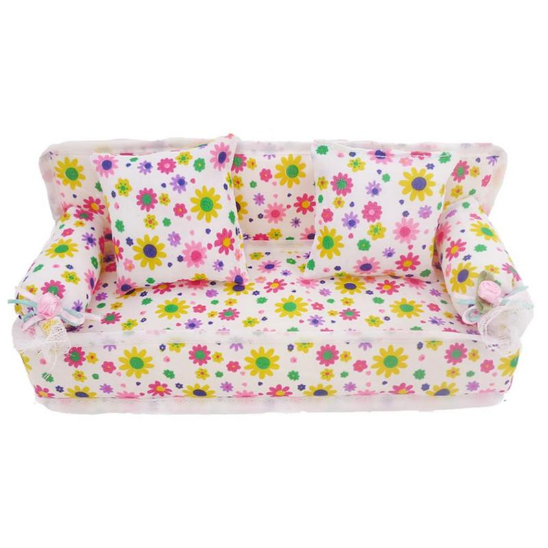 Kids Mini Flower Sofa Cloth Floral Prints Sofa Cushions Toy Dollhouse Miniature Furniture Toys For Doll Accessories Children