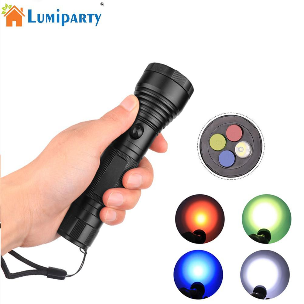 High Power 4 Color LED Flashlight filter signal torch Lanterna filter Emergency Signal Light Camping Home Use 3 Modle Switch