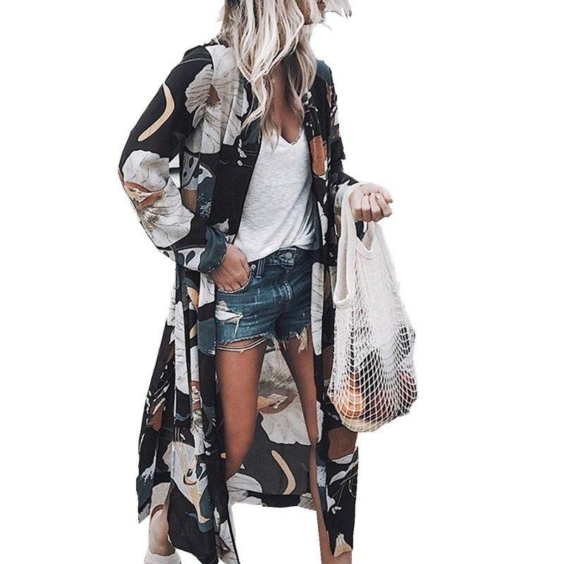 a17b9989a6425 Hauts 2019 Black yellow Gilet Soie Mousseline Femmes Boho blue D'été  Protection Pink En Blouse Kimono Dames Manches ...