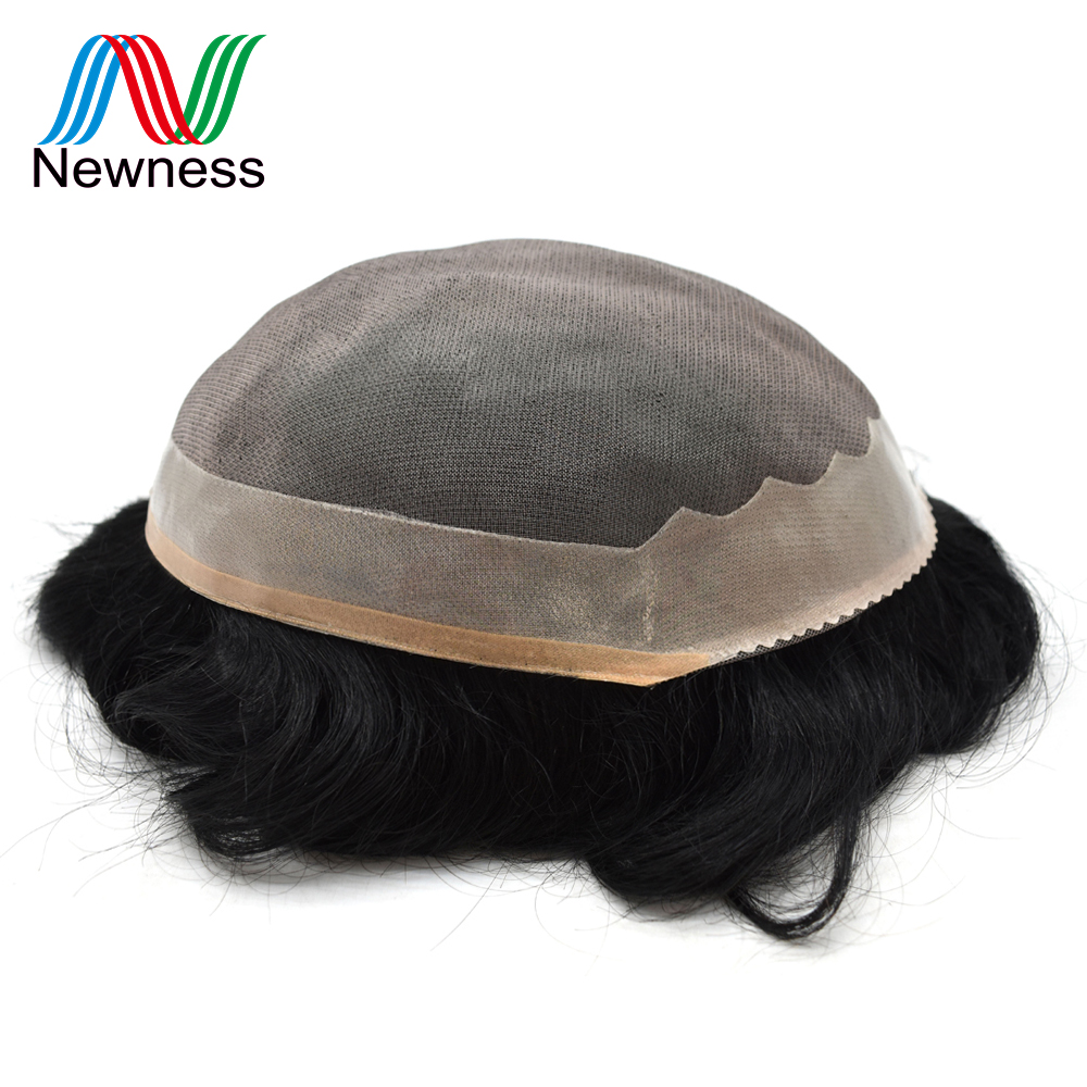 Newness Hair Men Toupee Durable Hairpieces Indian Human Hair Replacement MONO Clear PU Remy Natural Hair