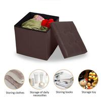 Carton Packaging 38*38cm Leather Storage Stool Multi Functional Shoe Bench Folding Footrest Sofa Covered Storage Box