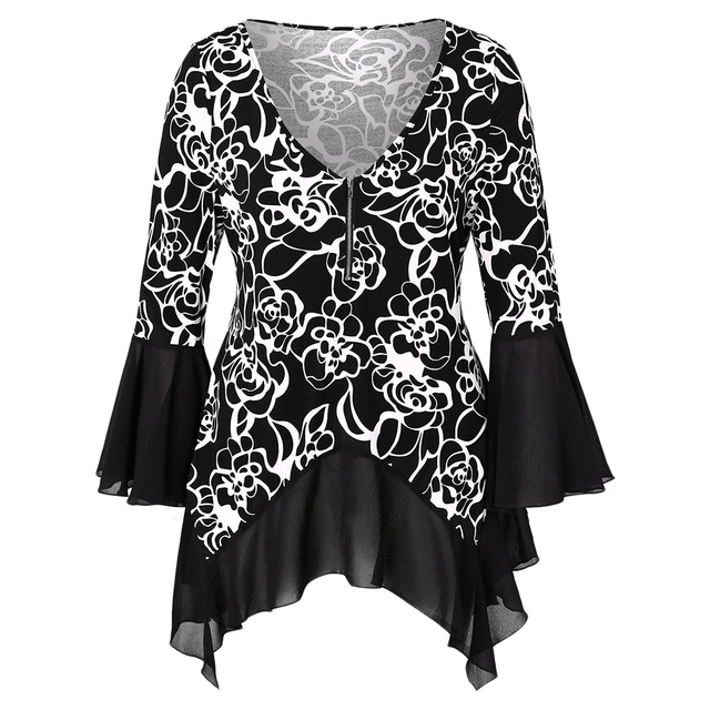 a42a9d606 Wipalo Plus Size Half Zip High Low Blouses Women Flower Print Flare Sleeve V -Neck Casual Shirts Female Spring Summer Tops Zipper