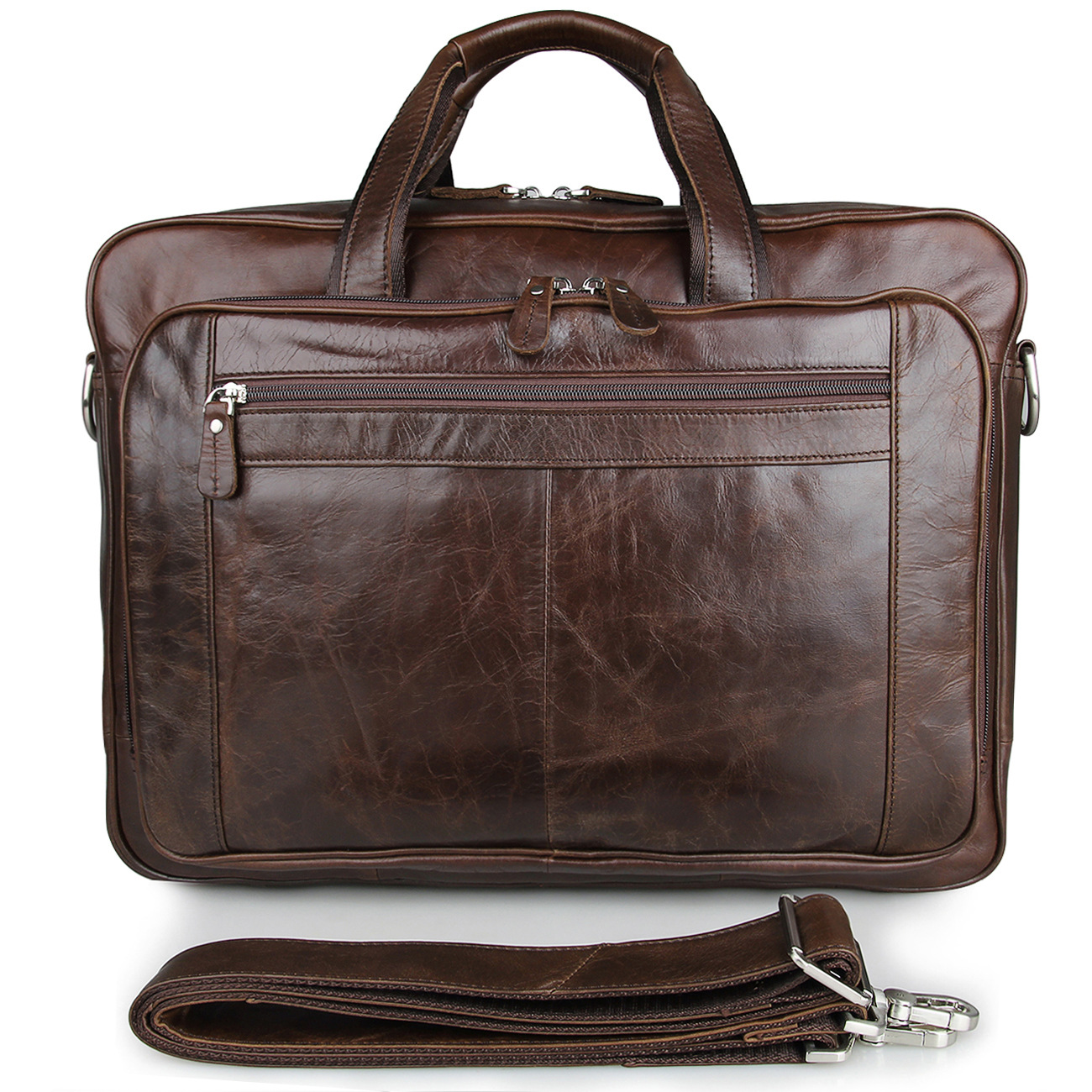 Europe American Retro Leather Men's Bag Oil Wax Leather Business Bag Briefcase 730-40 Large Leather Handbag 17 Inch Computer Bag