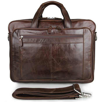 Europe American Retro Leather Men's Bag Oil Wax Leather Business Bag Briefcase 730-40 Large Leather Handbag 17 Inch Computer Bag - DISCOUNT ITEM  40% OFF All Category