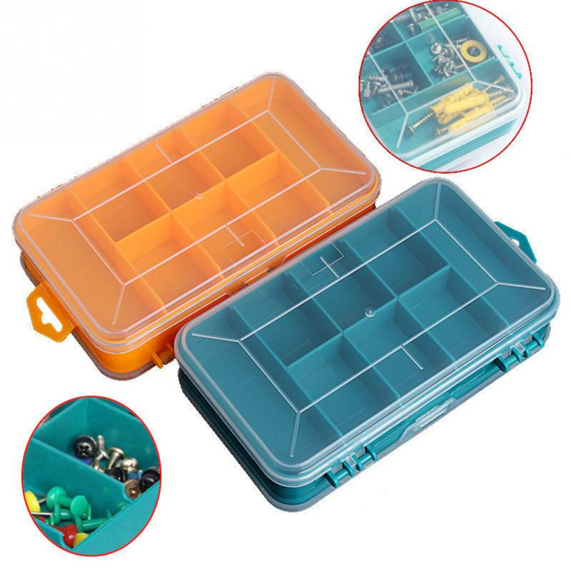 Portable Screws Storage Box Transparent Double-Side Multifunction Storage Case Plastic Household Hand Tool Organizer Box #1110