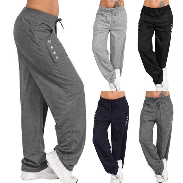 נשים מקרית Loose ספורט הרמון מכנסיים טרנינג רחב רגל גבוהה מותן תחרה עד ישר רצים מכנסיים בתוספת גודל Pantalon femme