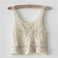 Womens Blouse Sexy Lace T Shirts Vest 2019 Summer Hot Sale Floral Solid Sleeveless Beach Cropped Beige Sexy Tank Vest Top