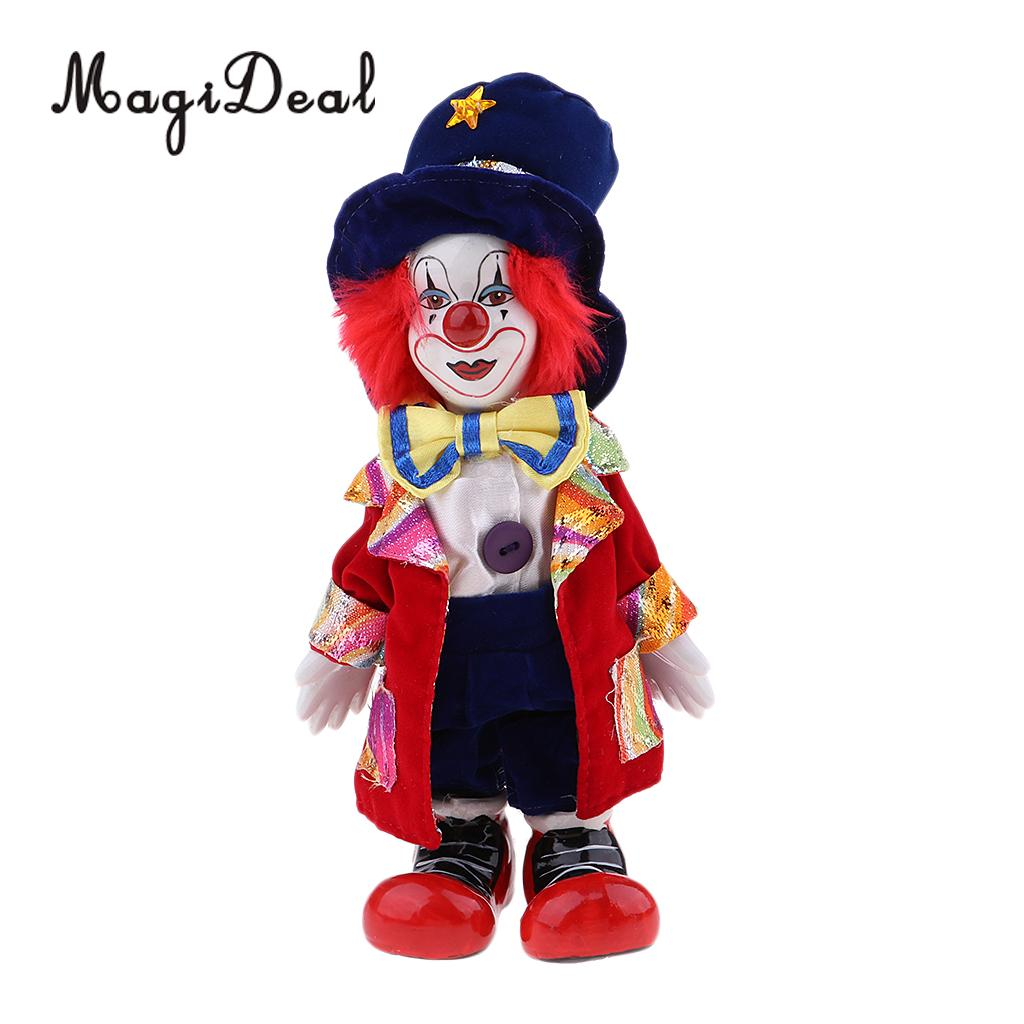 Hand Painted Porcelain Doll Funny Clown Dolls Wearing Red Coat And Hat Halloween Gift Home Decoration 18cm