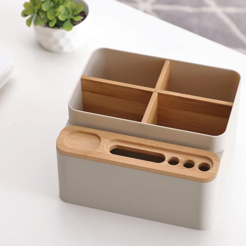 Augkun Bamboo Storage Box Living Room Coffee Table Desktop Remote