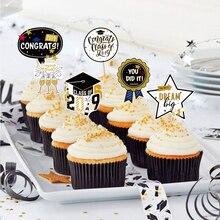 24pcs Graduation Party Cupcake Topper Congrats Grad Class of 2019 High School Senior Prom Decorations