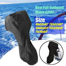 60-90HP Boat Full Motor Cover Outboard Engine Protector for 60-90HP Boat Motors Black Waterproof Oxford Cloth 5 Sizes