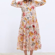 2019 New Floral Print Chiffon Dress Women Summer Sweet Lapel Ruffles A-Line Maxi Loose Holiday Beach Dresses