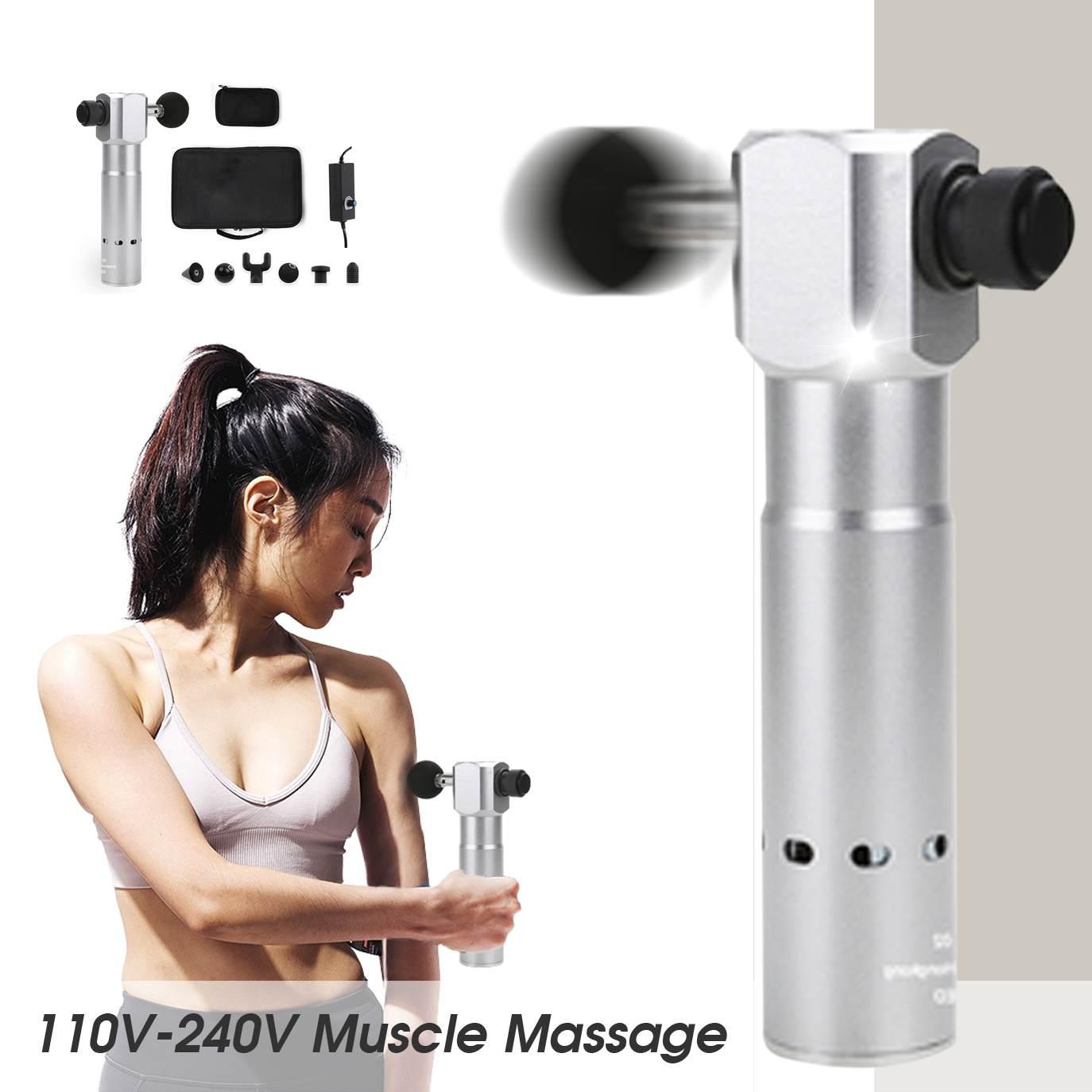 110-240 v Eletrônico Massagem Corporal Terapêutica para Arma de Alta Freqüência de Vibração Muscular Alívio Da Dor Massagem Armas Silencioso w /6 cabeça
