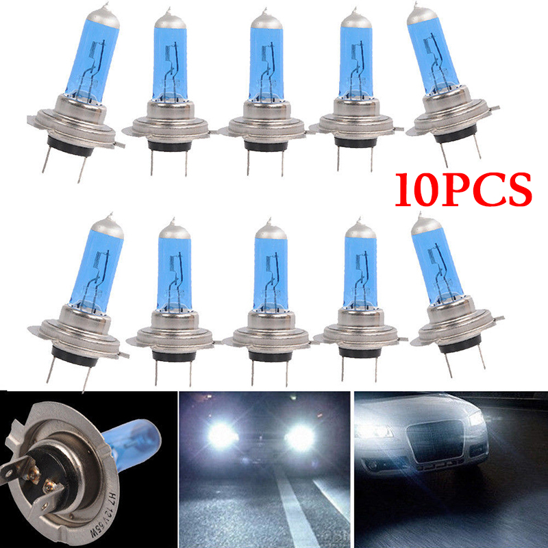 10pcs H7 55W 12V 6000K Bulbs Super White Fog Lights High Power Car Headlight Car Light Source