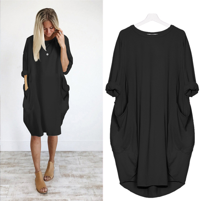 Women Casual Loose Dress with Pocket Ladies Fashion O Neck Long Tops Female T Shirt Dress Streetwear Plus Size 5XL vestidos 4