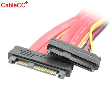 цена на Cablecc CY SAS Hard Disk Drive SFF-8482 SAS Cable 29 Pin Male to Female Extension Cable 0.5m