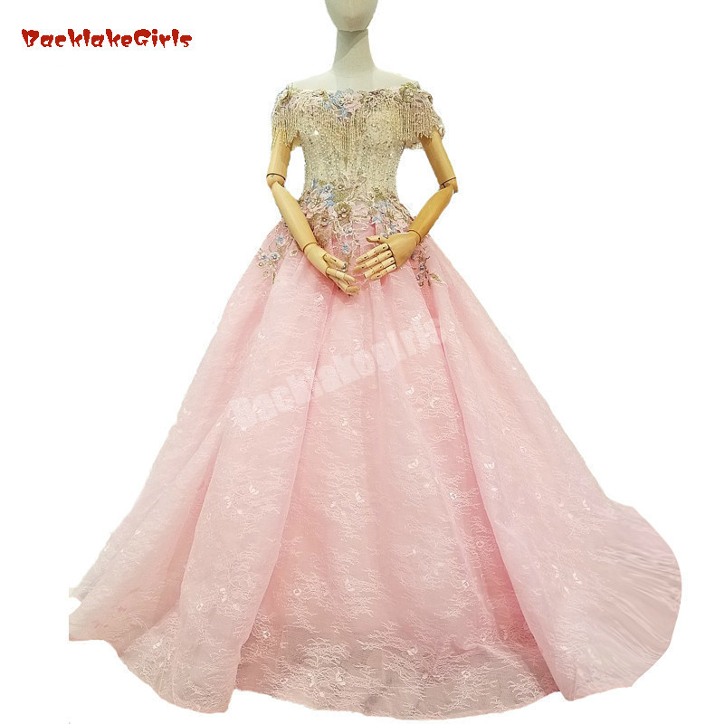 2018 New Arrival Pink Tulle Sleeveless Boat Neck Evening   Dress   Floor-length Off The Shoulder Vintage   Prom     Dresses   Party   Dresses