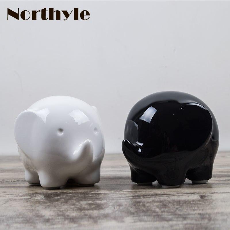 창조적 인 코끼리 입상 귀엽다 세라믹 공예 홈 장식 - 가정 장식