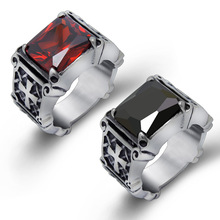 High Quality Antique Retro Ring for Men Women US Size 6-10 Red Black Square Enamel Stainless Steel Rings Fine Polished Jewelry