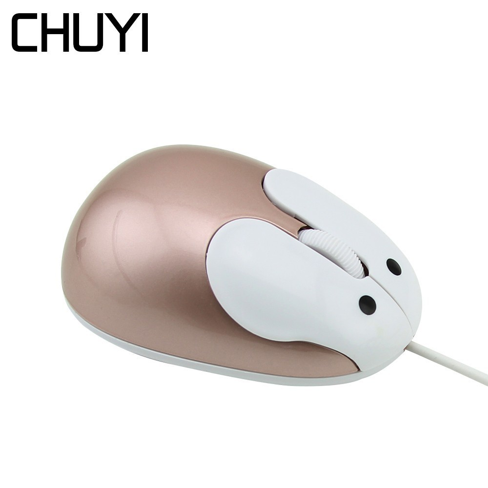 CHUYI Mini Cute Cartoon Rabbit Mouse For Girl Wired Computer Gold USB Mice 1200DPI Optical 3D Mause For Laptop Kid Gift mouse